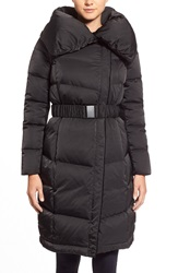 Vera Wang 'Eva' Pillow Collar Long Asymmetrical Down Coat Black