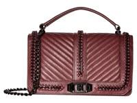 Rebecca Minkoff Love Crossbody With Chain And Top Handle Dark Cherry Cross Body Handbags Black