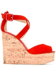 Giuseppe Zanotti Design Wedge Sandals Red