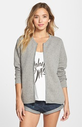 Rvca 'Seemone' Bonded Jacquard Full Zip Sweatshirt Heather Grey