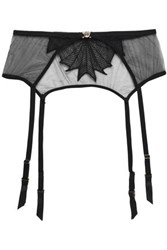 Mimi Holliday Embroidered Tulle Suspender Belt Black