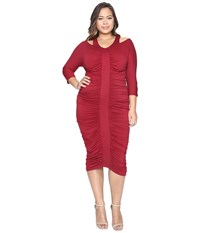 Kiyonna Riveting Ruched Dress Garnet Women's Dress Red