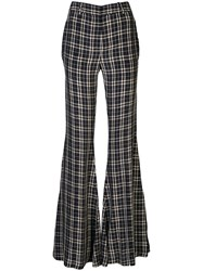 Khaite Silk Check Flared Tailored Trousers 60