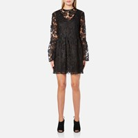 Perseverance Women's Drop Waist 3D Embroidered Mini Dress With Flare Sleeves Black