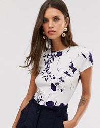 Ted Baker Fitted T Shirt In Bluebell Print Cream
