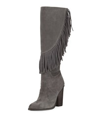 Cynthia Vincent Navy Fringe Suede Knee Boot Smoke Grey