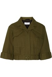 10 Crosby By Derek Lam Cropped Belted Cotton Jacket Green
