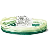 Rubinacci Set Of Three Silk And Sterling Silver Bracelets Green
