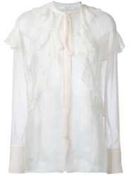 Givenchy Sheer Ruffle Detail Blouse Nude Neutrals