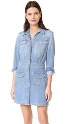 7 For All Mankind Button Front Dress Luxe Coastal Blue
