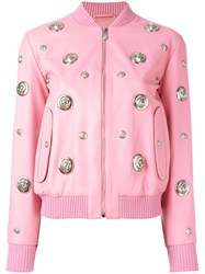 Versus Lion Head Leather Bomber Jacket Pink Purple