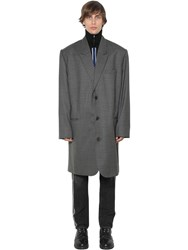 Martine Rose Oversized Single Breast Wool Coat Grey Checked