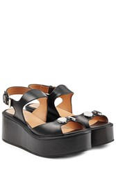 Carven Embellished Leather Platform Sandals Grey