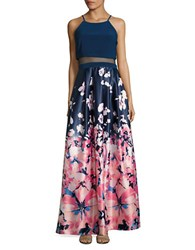 Betsy And Adam Floral Printed Two Piece Gown Navy Coral