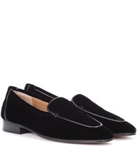 The Row Adam Velvet Loafers Black
