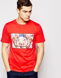 Evisu T Shirt Godhead Patch Front Red