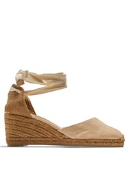 Castaner Carina Canvas Espadrille Wedge Sandals Nude