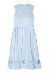 Topshop Embroidered Babydoll Dress Pale Blue