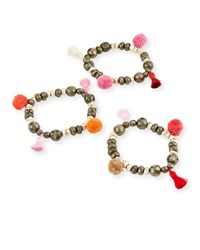 Hipchik Bella B Mixed Pompom Bracelet Set Multi