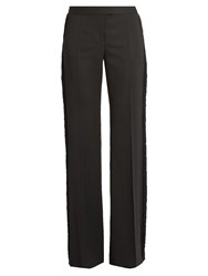 Stella Mccartney Fringed Trim Wide Leg Wool Trousers Black