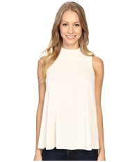 Lilla P Liquid Terry Mock Neck Swing Top Antique White Women's Clothing