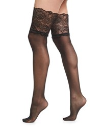 Wolford Lace Filigree Stay Up Thigh High Stockings Black