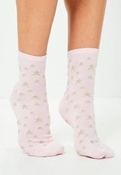 Missguided Pink Lurex Star Ankle Socks