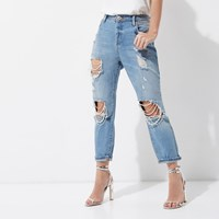 River Island Womens Petite Mid Blue Ashley Ripped Boyfriend Jeans