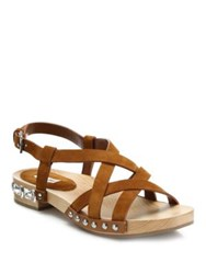 Miu Miu Strappy Leather Wooden Clog Sandals Tan Blue