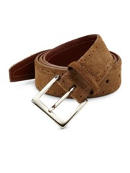 Saks Fifth Avenue Perforated Suede Belt Tan