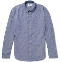 Nn.07 Nn07 Frede Grandad Collar Cotton And Linen Blend Shirt Blue