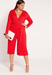 Missguided Plus Size Jersey Wrap Plunge Jumpsuit Red Red