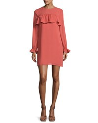 Wayf Rochester Ruffled Shift Dress Coral