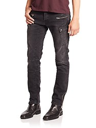 The Kooples Distressed Zip Skinny Jeans Black Washed