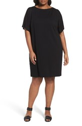 Eileen Fisher Plus Size Women's Slit Sleeve Kimono Dress Black