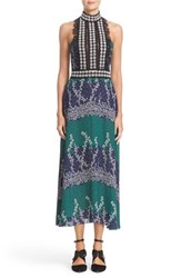 Yigal Azrouel Women's Lace Trim Ivy And Paisley Print Maxi Dress
