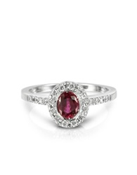Forzieri Ruby And Diamond 18K White Gold Ring Red