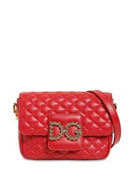 Dolce And Gabbana Small Millennial Quilted Leather Bag Red