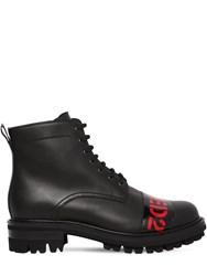 Dsquared 30Mm Logo Leather Combat Boots Black Red