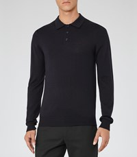Reiss Mansion Mens Merino Polo Shirt In Blue