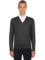 Prada Virgin Wool V Neck Sweater Grey