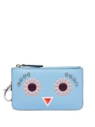 Fendi Studded Leather Key Case Pouch Pale Turquoise Carbone