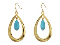 Lauren Ralph Lauren Paradise Found Gypsy Hoop W Turquoise Bead Drop Earrings Turquoise Gold Earring Blue