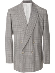 E. Tautz Checked Double Breasted Jacket Brown