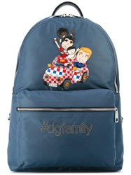 Dolce And Gabbana Volcano Dg Family Patch Backpack Blue