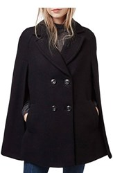 Women's Topshop Double Breasted Cape Black