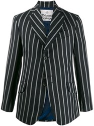 Vivienne Westwood Striped Fitted Blazer Black