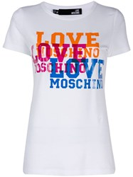 Love Moschino Logo Print T Shirt White
