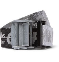 Off White 3.5Cm Tonal Grey Industrial Logo Jacquard Webbing Belt Charcoal