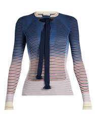 Sonia Rykiel Tie Neck Striped Ribbed Knit Sweater Navy Stripe
